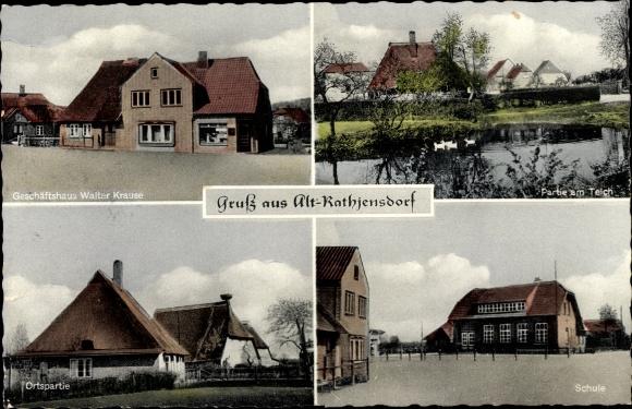 Ak Rathjensdorf in Schleswig Holstein, Geschäftshaus Walter Krause, Schule, Teich u. Ortspartie