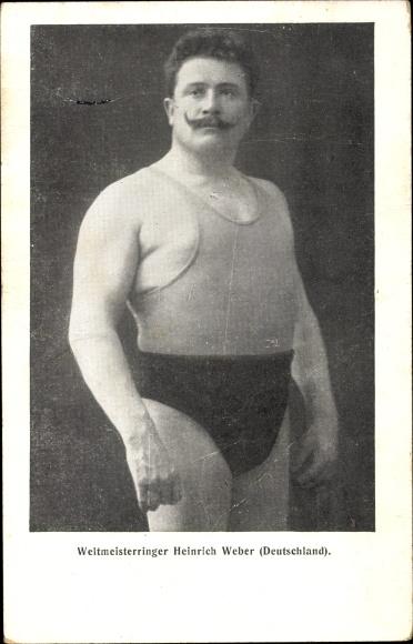 Ak Weltmeister Ringer Heinrich Weber aus Deutschland, Portrait