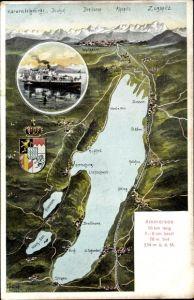 Landkarten Ak Felle, Eugen, Herrsching am Ammersee in Oberbayern, Salondampfer