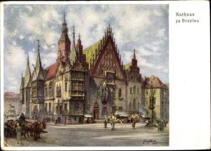 Künstler Ak Wrocław Breslau Schlesien, Das Rathaus, 12. Deutsches Sängerbundesfest 1937