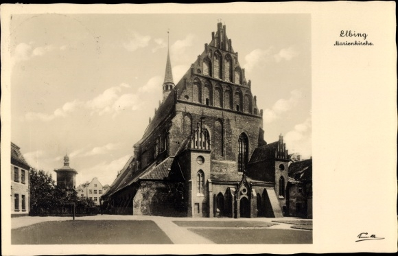 Ak Elbląg Elbing Westpreußen, Marienkirche, Turm