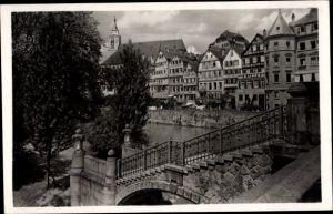 Ak Tübingen am Neckar, Partie an der Eberhardbrücke