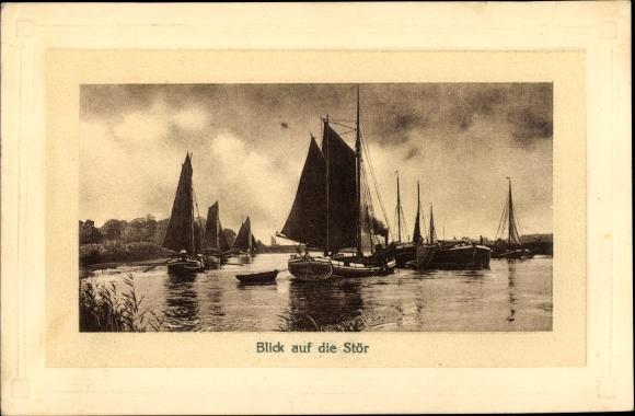 Ak Segelboote auf der Stör, Zufluss der Elbe, Fischerboote