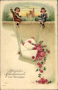 Präge Ak Glückwunsch Namenstag, Kinder auf einer Mauer, Briefumschlag, Rosen