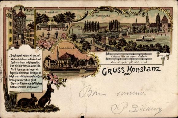 Litho Konstanz am Bodensee, Schnetztor, Husshaus, Rheinbrücke, Notenpartitur, Gedicht, Hasen