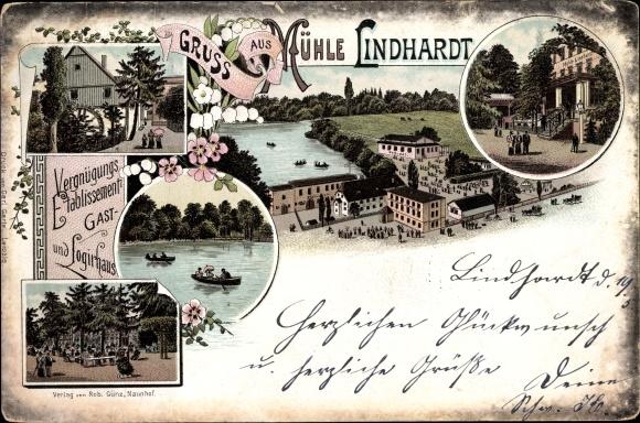 Vorläufer Litho Lindhardt Naunhof im Kreis Leipzig, Mühle Lindhardt