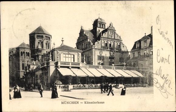Ak München Bayern, Künstlerhaus, Passanten, Synagoge