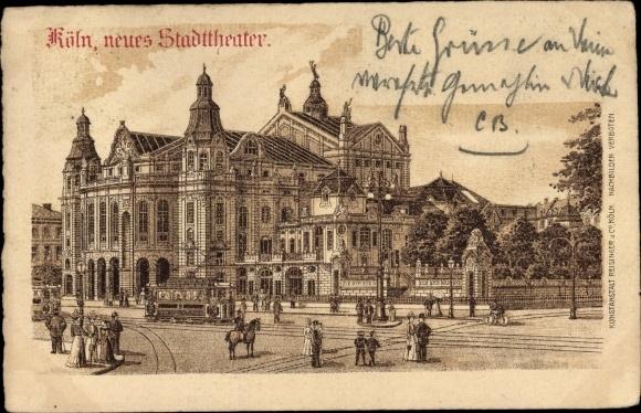 Litho Köln am Rhein, neues Stadttheater, Straßenansicht, Straßenbahn