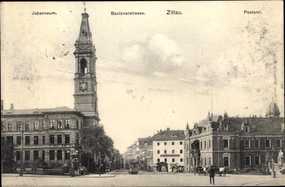 Ak Zittau in der Oberlausitz, Johanneum, Bautznerstraße, Postamt, Café zur Reichspost