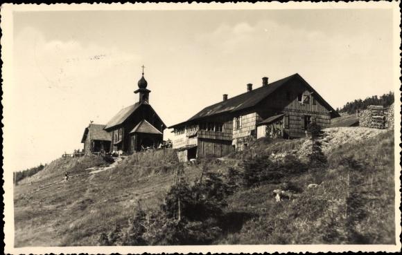 Ak Loučná nad Desnou Wiesenberg Region Olmütz, Heidebrünnel, Außenansicht