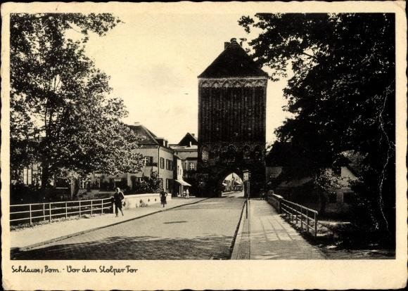 Ak Sławno Schlawe Pommern, Vor dem Stolper Tor