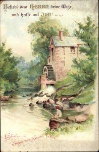 Ak Glückwunsch Neujahr, Wassermühle, Angler, Befiehl dem Herrn deine Wege, Psalm 37, 5