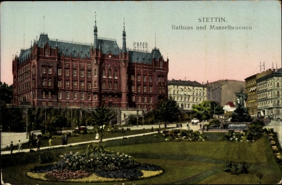 Leuchtfenster Ak Szczecin Stettin Pommern, Rathaus, Manzelbrunnen