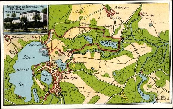 Landkarten Ak Buckow in der Märkischen Schweiz, Strandhotel am Schermützelsee, Bes. E. Falkenberg