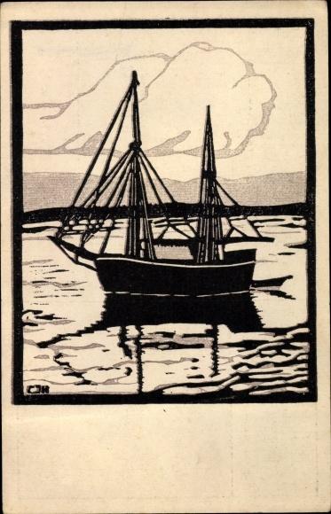 Künstler Ak Hochreuter, Karl Johann, In der Föhrde, Segelboot