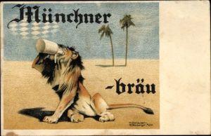 Künstler Ak Olshausen Schönberger, Käthe, Münchner Bräu, Löwe mit Bierkrug, Reklame