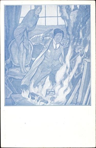 Künstler Ak Maler im Atelier, Modell auf einem Stuhl, Brand