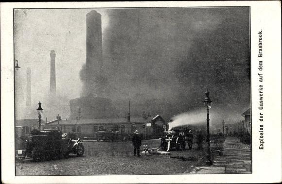 Ak Hamburg Grasbrook, Explosion der Gaswerke, 8. Dezember 1909, Feuerwehr, Brand, Gasometer