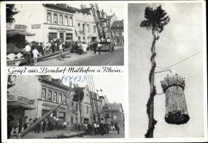 Ak Mülhofen Bendorf in Rheinland Pfalz, Maibaum, Kran, Straßenpartie, Gasthaus Metzgerei