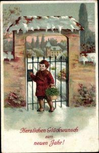 Ak Glückwunsch Neujahr, Kind, Korb, Kleeblätter, Winterszene