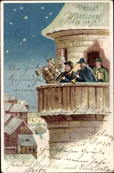 Ak Glückwunsch Neujahr, Musikkapelle, Sterne, Winterszene
