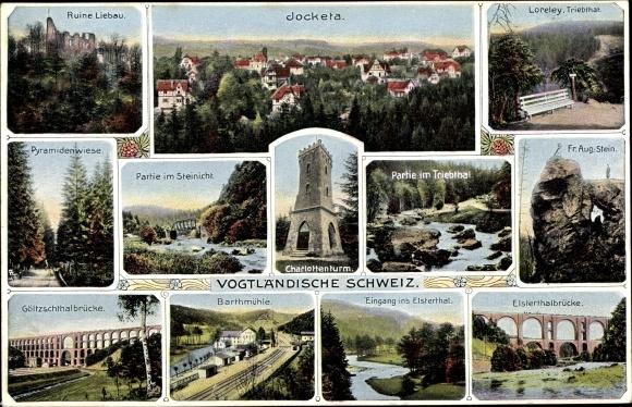 Ak Jocketa Pöhl Vogtland, Göltzschtalbrücke, Barthmühle, Elstertalbrücke, Charlottenturm, Loreley