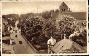 Ak Lyngby Dänemark, Fra Hovedgaden med Kirken, Hauptstraße mit Kirche