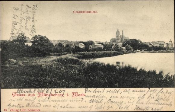 Ak Müncheberg Märkisch Oderland, Gesamtansicht der Stadt, Uferpartie