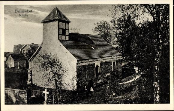 Ak Dahmsdorf Müncheberg Märkisch Oderland, Kirche, Panorama