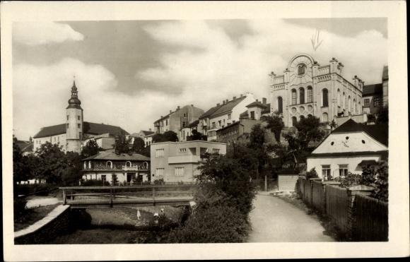 Ak Hranice Mährisch Weißkirchen, Reg Olmütz, Synagoge, Brücke, Teilansicht der Stadt