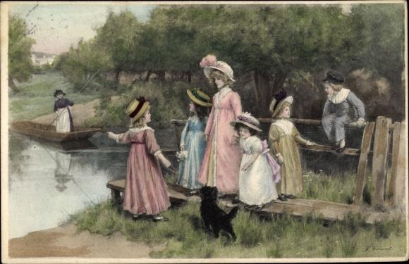 Künstler Ak Tarrant, P., Frau mit Kindern an Anlegestelle, Fährkahn, Hund, M. Munk Nr. 567