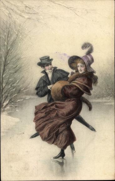 Künstler Ak Paar beim Eislaufen, Frau in Mantel, Pelzmuff, Hut, Munk Nr. 561