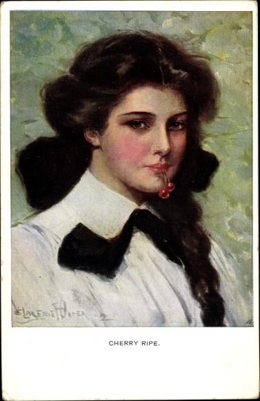 Künstler Ak Underwood, Clarence, Cherry Ripe, Reife Kirschen, Portrait einer jungen Frau, Munk 832