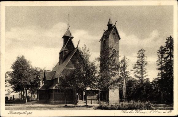 Ak Karpacz Brückenberg b. Krummhübel Riesengebirge Schlesien, Kirche Wang
