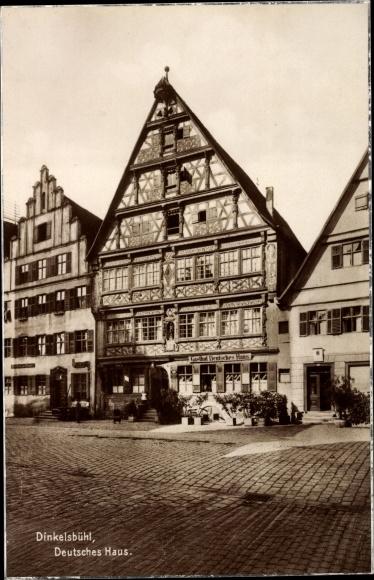 Ak Dinkelsbühl in Mittelfranken, Blick auf das deutsche Haus