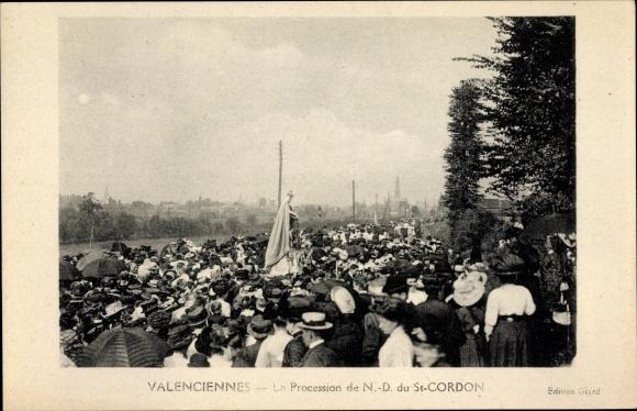Ak Valenciennes Nord, La Procession de N. D. du St. Cordon