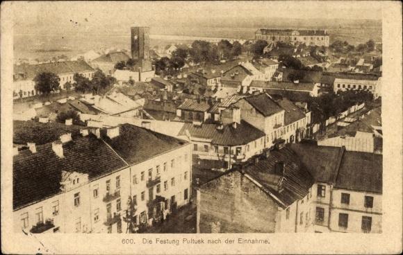 Ak Pultusk Polen, Festung nach der Einnahme, Blick über die Dächer der Stadt