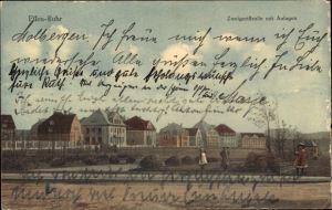 Ak Essen im Ruhrgebiet, Zweigertstraße mit Anlagen, Wohnhäuser, Passanten