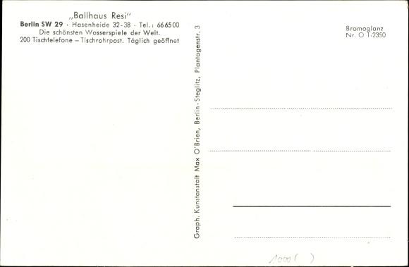 Ak Berlin Kreuzberg, Ballhaus Resi, Bühne, Musikinstrumente, Wasserspiele, Tische 1