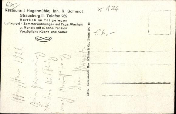 Ak Heegermühle Strausberg Märkisch Oderland, Restaurant Heegermühle, Inh. R. Schmidt, Straßenansicht 1