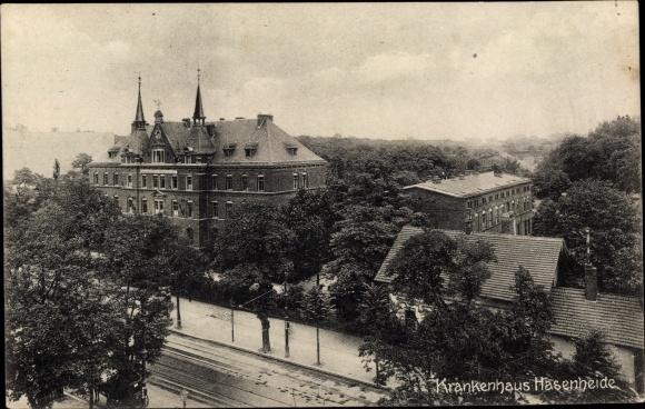 Ak Berlin Neukölln Rixdorf, Krankenhaus Hasenheide, erhöhte Straßenansicht 0