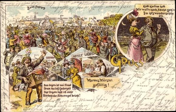 Litho Volksfest, Kirmes, Festzug, Würstel, Drehorgel, Leierkasten, Liebespaar  0