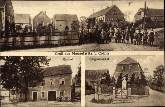 Ak Meuselwitz Colditz Sachsen, Straßenpartie, Passanten, Gasthof, Kriegerdenkmal 0