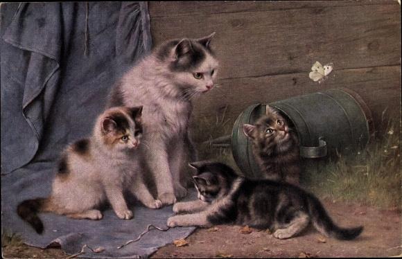 Künstler Ak Katze mit jungen Kätzchen, Schmetterling, Gießkanne