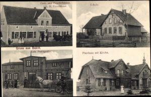 Ak Bakitt?, Gasthaus von N. Friedländer, Postagentur, Schule, Pfarrhaus, Kirche