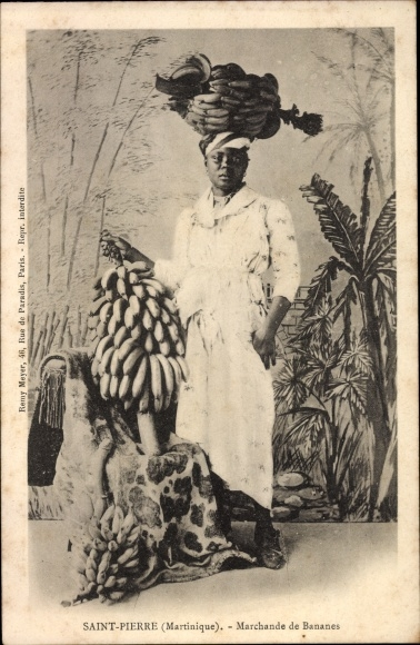 Ak Saint Pierre Martinique, Marchande de Bananes, Bananenhändlerin