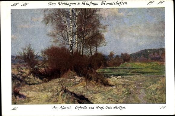 Künstler Ak Strützel, Otto, Ölstudie im Isartal, Birken, Landschaftsansicht