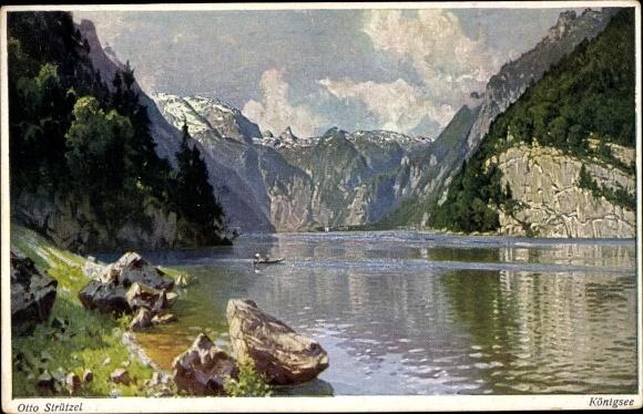 Künstler Ak Strützel, Otto, Königssee, Berchtesgadener Land, Malerwinkel, Novitas 801