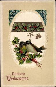 Präge Litho Glückwunsch Weihnachten, Zwei Vögel, Vergissmeinnicht, Stechpalmenzweige