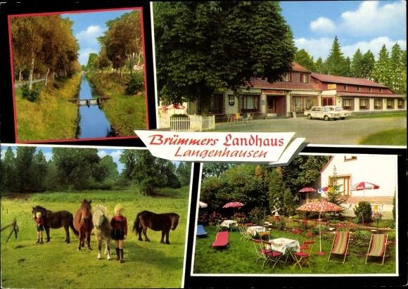 Ak Langenhausen Gnarrenburg in Niedersachsen, Brümmers Landhaus, Gartenpartie, Ponys